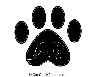 black paw of panther n withe background