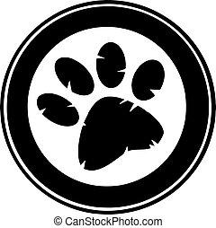 Black Paw Print Banner Cartoon Character
