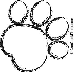 Black paw print stroke paint logo vector