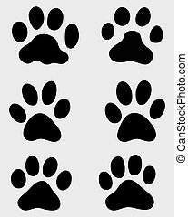 Black print of paws of cats, vector illustration