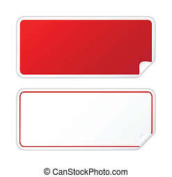 Black red sticker on white
