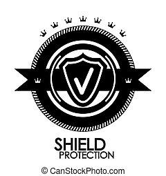 Black retro vintage label | tag | badge | protection stamp