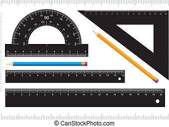 Black ruler, measuring scale, protractor and pencil isolated on white background