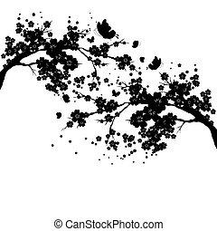 black silhouete, flowers tree , on a white