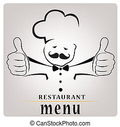black silhouette of a chef with hands composed only by lines with text