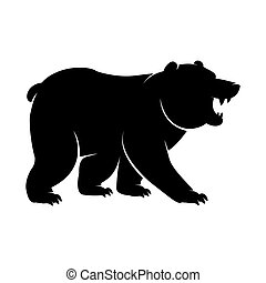 Black Silhouette of a standing and roaring Bear icon. Vector illustration of an angry monochrome arctic animal, polar bear or Grizzly logo with big clawed paws isolated on a white background