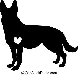 Black silhouette of german shepherd dog with white heart standig sideway