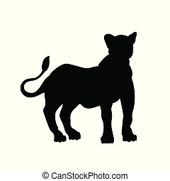 Black silhouette of standing lion on white background. Lioness image. Isolated icon of wild cat. African animals