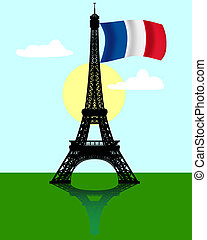 black silhouette of the Eiffel tower with the flag of France