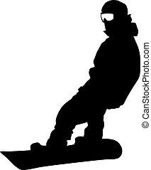 Black silhouette snowboarder on white background. Vector illustration.