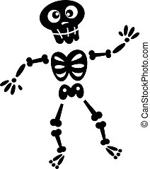 Funny Skeleton isolated on white. Vector cartoon