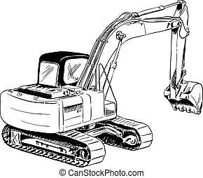 black sketch of big excavator