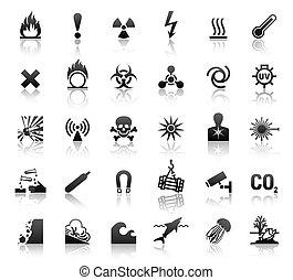 black symbols danger icons, design element