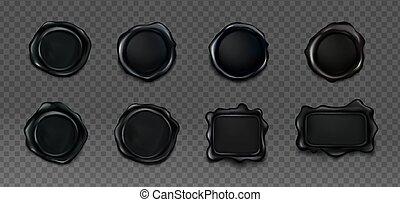 Black wax seals set for letter and envelope