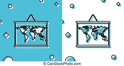 Black World map on a school blackboard icon isolated on blue and white background. Drawing of map on chalkboard. Random dynamic shapes. Vector Illustration