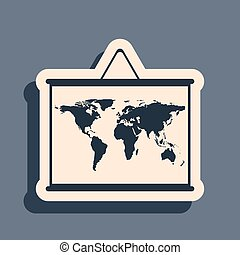 Black World map on a school blackboard icon isolated on grey background. Drawing of map on chalkboard. Long shadow style. Vector Illustration