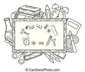 Blackboard and school supplies design