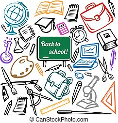 Blackboard and school supplies icons