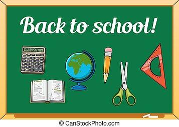 Blackboard and school supplies set