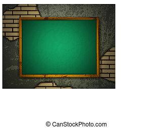 Blackboard at grunge wall
