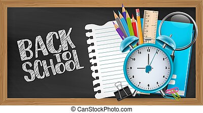 Blackboard background with wooden frames. Back to school concept with study supplies. Design for advertisement, magazine, website. 3d realistic vector illustration