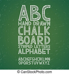 Blackboard chalkboard Chalk hand draw doodle abc, alphabet grunge scratch type font vector illustration.
