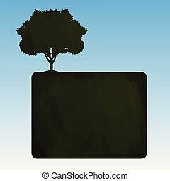 Blackboard with a tree, vector
