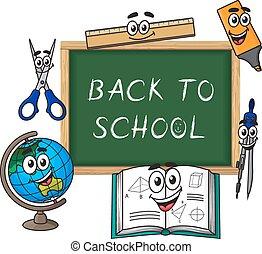 Blackboard with cartoon school supplies