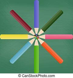 Blackboard with colored pencils. Vector illustration