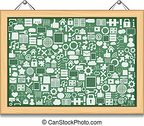 Blackboard with different education icons