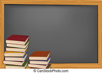 Blackboard with school supplies. Vector.