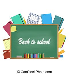 Blackboard with school supplies. Vector illustration