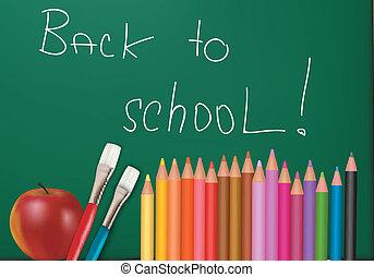 Blackboard with school supplies.