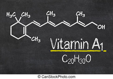 Blackboard with the chemical formula of Vitamin A1