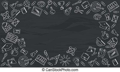Blackboard with white Handdrawn chalk school supplies.