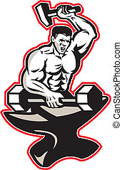 Illustration of a blacksmith with hammer forging striking a barbell dumbbell on anvil onisolated white background done in retro style.