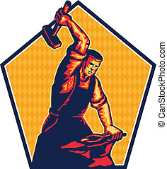 Illustration of a blacksmith worker with sledgehammer striking at anvil done in retro style.