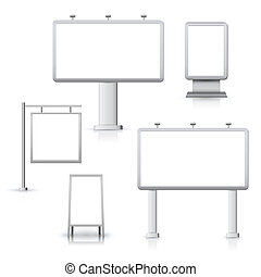 Blank advertising sign outdoor boards set isolated vector illustration.