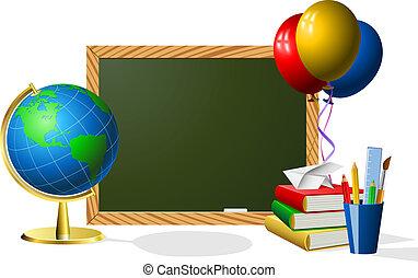 Blank blackboard with school accessories.