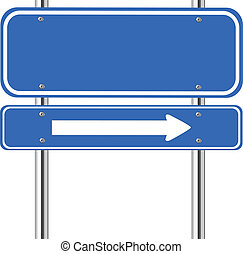 Blank blue traffic sign with white arrow on white
