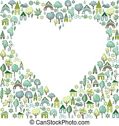 Blank heart made of trees and country houses