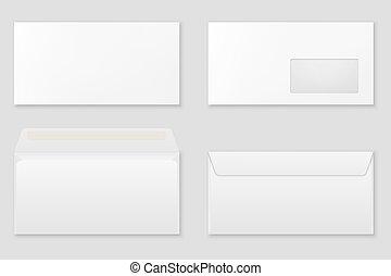 Blank paper envelopes.