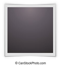 Blank photograph with shadow isolated on white background.