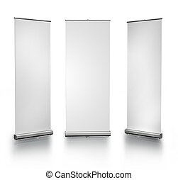 Three blank roll-up posters on white background