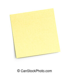 blank yellow adhesive note on white background with shadow