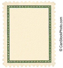 Blank Vintage Postage Stamp, Green Vignette Vertical Macro, Isolated