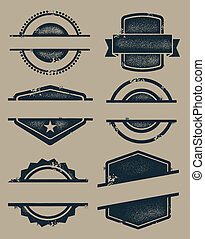 A collection of retro rubber stamps, labels and seals.