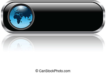 Blank black web button with earth globe inside, vector illustration