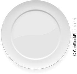 Vector illustration of blank white dinner plate isolated on white.