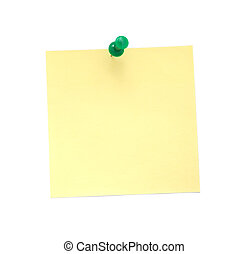 Blank yellow sticky note with pushpin isolated on white background